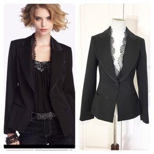 WHBM Tuxedo Jacket With Satin & Lace Trim